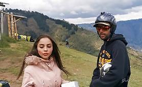 Masturbation during the paragliding with a really perverted busty slut who fingers her hot pussy in the air until she enjoys the orgasm.