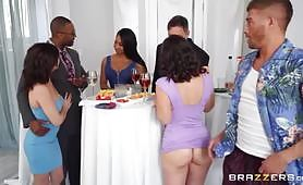 During a party, the man is extremely seduced by a brunette slut with a blue dress while she doesn't want to waste time and grabs his huge cock and sucks it. The slut gets her ass broken in rough and wild anal sex with loud moans.