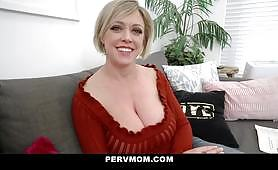 Watch as this slutty blonde mom with big tits moans with pleasure as she gets her stepson's big cock deep inside her mouth and pussy and gets fucked.