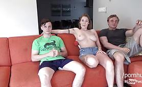 An amazing threesome video with two sexy bisexual guys and a horny redhead slut. One of the guys gets his ass hole totally fucked with a strap on and then they both fuck the babe in her hot holes.