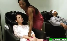 Horny young slut gets pussy licking and vaginal fingering from a black female stylist. At first the young whore refuses her but when she feels the tongue of the black slut between the lips of her vagina she cannot resist the temptation.