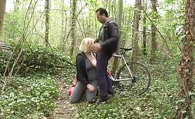 A blonde slut gets seduced in a forest by a pervert and indulges her hot holes. Shameless babe sucks cock making it hard. Then the whore gets fucked in her pussy and ass.