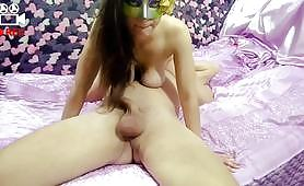 Oral sex scene in 69 positions with a brunette slut who gets on top of her boyfriend sucking his small cock and getting some pussy licking.