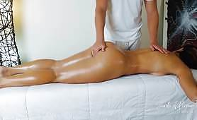 Slut gets her vagina oiled and gets an erotic massage. She gets horny and can't resist the temptation to suck cock. Then she gets fucked good and enjoys a vaginal creampie.