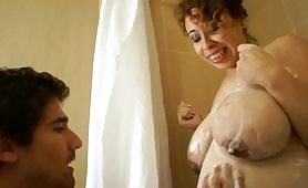 Horny Latin slut is taking a shower while her stepson enters the bathroom, making the whore excite to the maximum she invites the perverted young man to his room where he receives some pussy licking and intense vaginal penetrations.