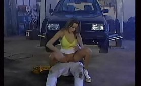 A blonde whore came to the mechanic store to repair her car, but she get fucked in the double penetration position. The slut can't resist the temptation to suck the big cocks and take them both huge and hard in her hot holes.