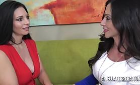 The sexy slut Ariella Ferrera and her friend in a lesbian sex video with pussy licking. Brunette and big tit milf sluts lick each other juicy pussies and masturbate with intense pussy fingering.