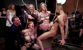 In public, the 3 house slaves, including Aiden Starr, all tied up with ropes get a hardcore BDSM fuck and lesbian cunnilingus