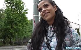 The small-breasted whore Sandra Soul accepts money from a stranger in exchange for making a blowjob and getting hardcore fucked in public