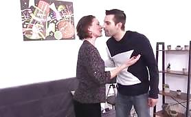 French MILF wants her pussy destroyed by a young male and takes him home and sucks deep his big thick cock until he penetrates her ass deep anal with a condom.