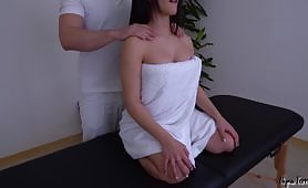 The beautiful lady goes to a sexual massage center to get a nice relaxing sensual massage by a pleasant man at the center and gets fucked too.