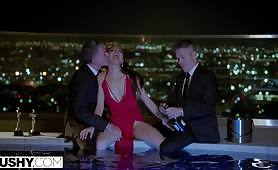 The sexy muscled bodyguards are her meal for today! Let's show how a threesome with double penetration begins with champagne by the pool